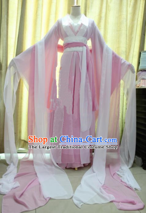 Chinese Traditional Cosplay Princess Costume Ancient Swordswoman Pink Hanfu Dress for Women