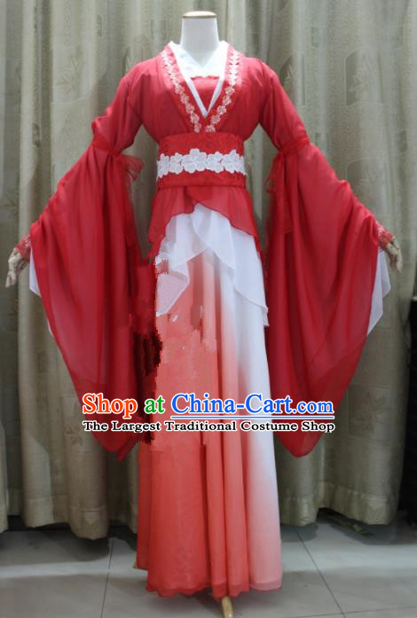 Chinese Traditional Cosplay Swordswoman Costume Ancient Peri Princess Red Hanfu Dress for Women
