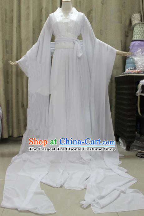 Chinese Traditional Cosplay Swordswoman Costume Ancient Peri Princess White Hanfu Dress for Women