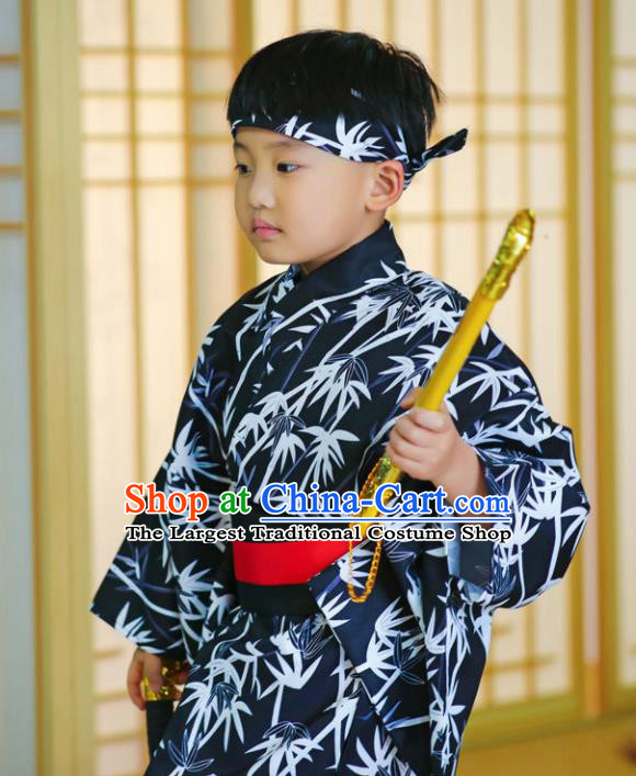 Japanese Traditional Handmade Kimono Asian Japan Boys Printing Bamboo Navy Yukata Costume for Kids