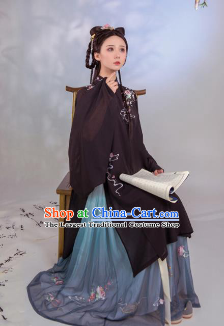 Chinese Ancient Peri Embroidered Hanfu Dress Ming Dynasty Court Princess Historical Costume for Women