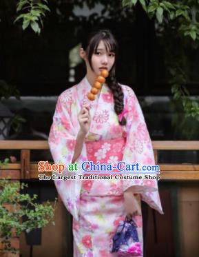 Handmade Japanese Geisha Printing Pink Furisode Kimono Dress Asian Japan Traditional Yukata Costume for Women