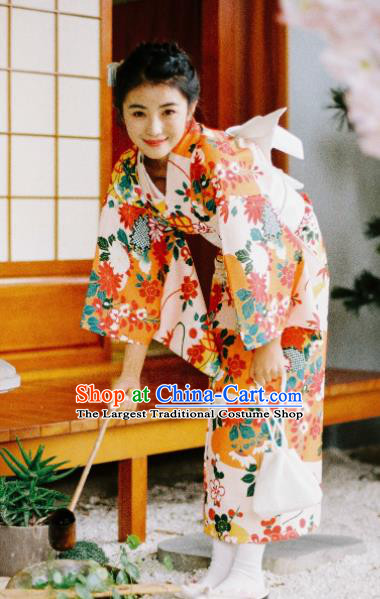 Handmade Japanese Traditional Costume Geisha Printing Furisode Kimono Dress Asian Japan Yukata for Women