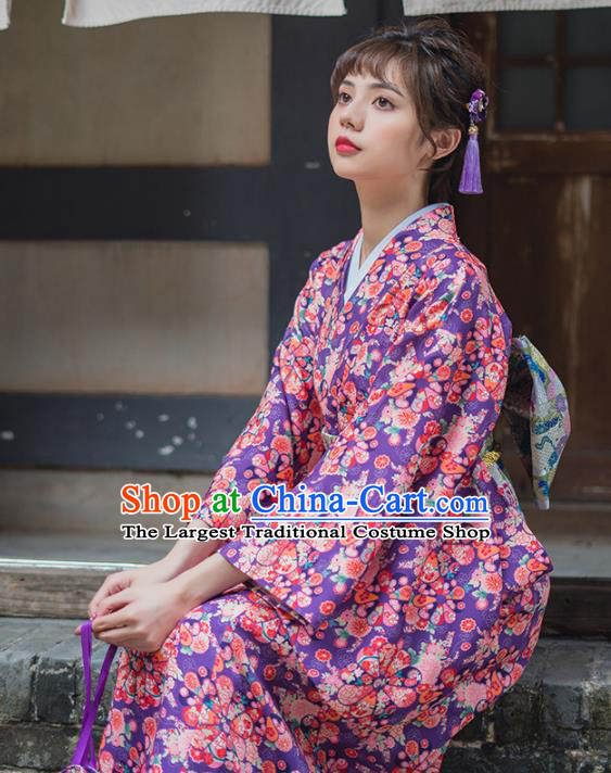 Handmade Japanese Traditional Costume Purple Furisode Kimono Dress Asian Japan Yukata for Women