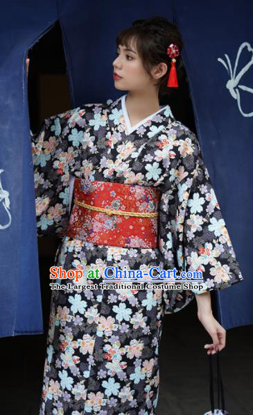 Handmade Japanese Traditional Costume Black Furisode Kimono Dress Asian Japan Yukata for Women