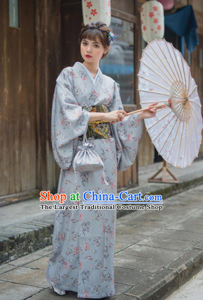 Handmade Japanese Traditional Costume Grey Furisode Kimono Dress Asian Japan Yukata for Women