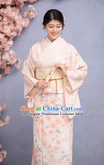 Japanese Traditional Costume Pink Furisode Kimono Dress Asian Japan Yukata for Women