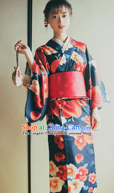 Japanese Traditional Costume Printing Furisode Kimono Dress Asian Japan Yukata for Women