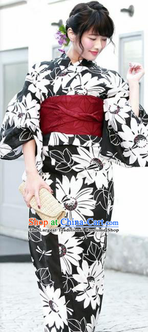Japanese Traditional Costume Geisha Printing Daisy Black Furisode Kimono Asian Japan Yukata Dress for Women