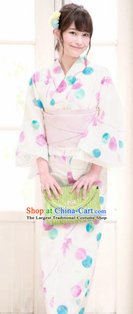 Japanese Traditional Costume Geisha Printing Furisode Kimono Asian Japan Yukata Dress for Women
