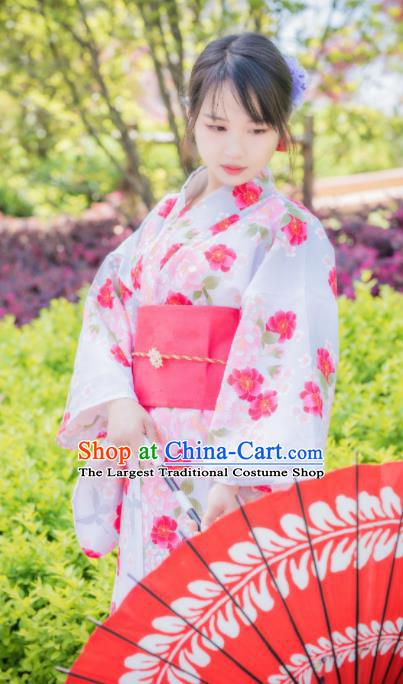 Japanese Traditional Costume Geisha Printing Pink Flowers Furisode Kimono Asian Japan Yukata Dress for Women