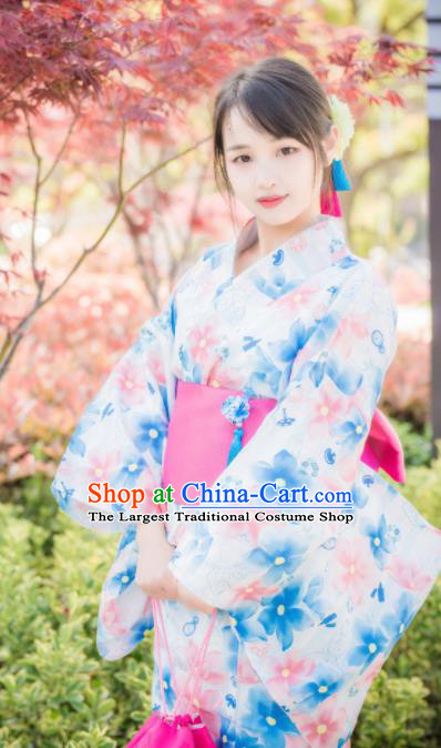 Japanese Traditional Costume Geisha Printing Blue Flowers Furisode Kimono Asian Japan Yukata Dress for Women