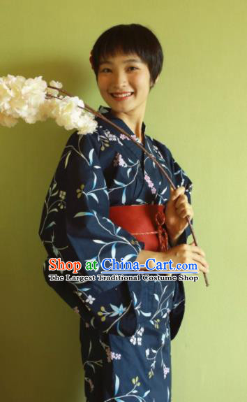 Japanese Traditional Costume Geisha Printing Navy Furisode Kimono Asian Japan Yukata Dress for Women