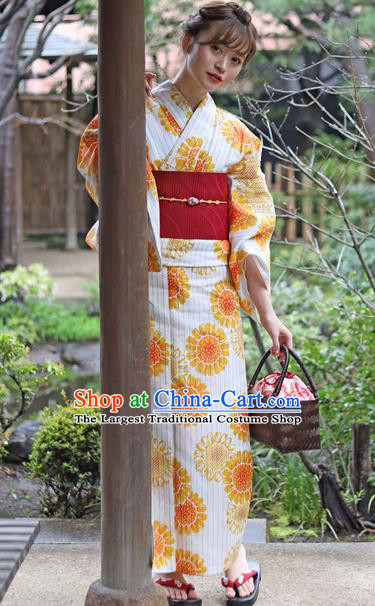 Japanese Traditional Costume Geisha Printing Flowers Furisode Kimono Dress Asian Japan Yukata for Women