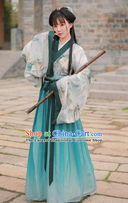 Chinese Ancient Princess Green Embroidered Hanfu Dress Jin Dynasty Historical Costume for Women