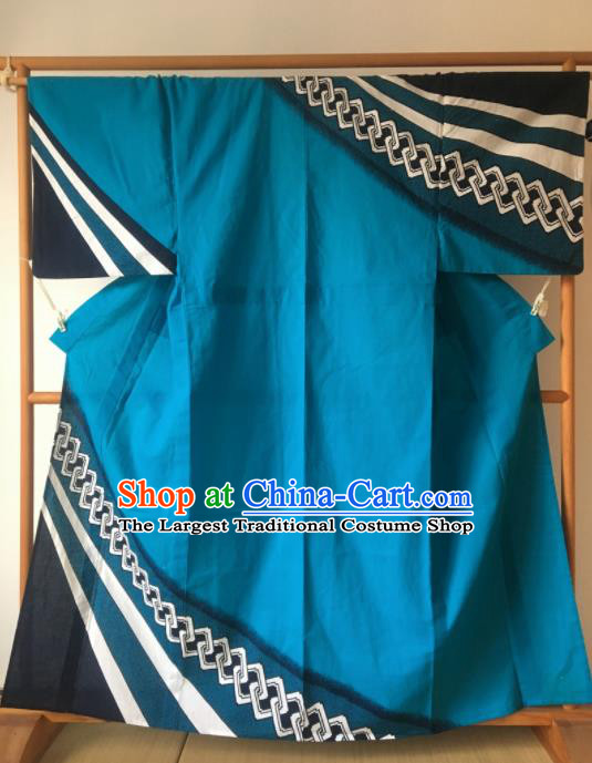 Japanese Traditional Costume Geisha Blue Furisode Kimono Asian Japan Yukata Dress for Women
