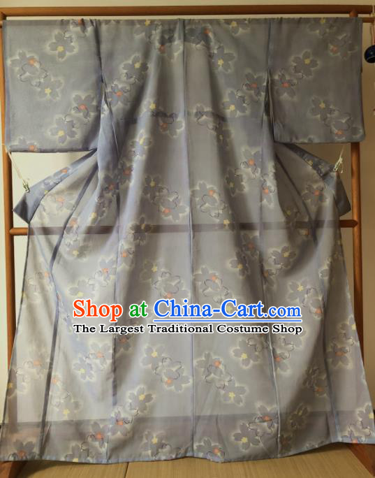 Japanese Traditional Costume Geisha Grey Veil Furisode Kimono Asian Japan Yukata Dress for Women