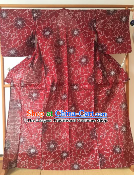 Japanese Traditional Costume Geisha Red Veil Furisode Kimono Asian Japan Yukata Dress for Women
