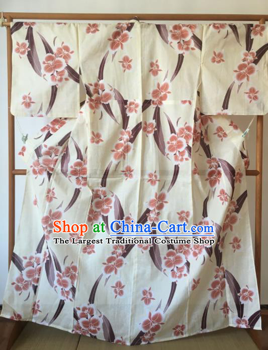 Japanese Traditional Costume Geisha Printing Flowers White Furisode Kimono Asian Japan Yukata Dress for Women