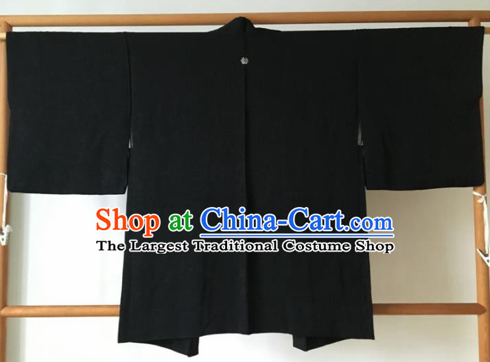 Traditional Japanese Samurai Haori Kimono Black Coat Asian Japan Handmade Warrior Yukata Costume for Men