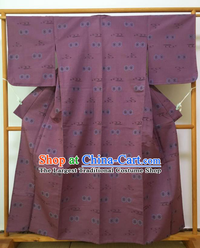 Japanese Traditional Costume Classical Printing Amaranth Furisode Kimono Asian Japan Geisha Yukata Dress for Women