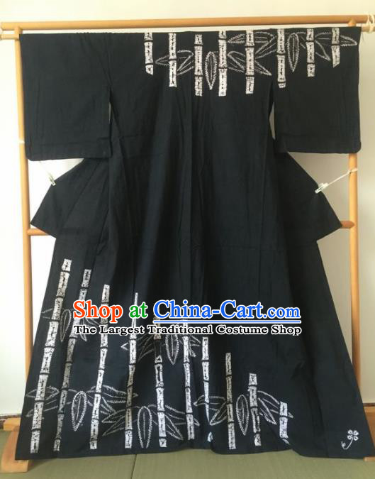 Japanese Traditional Printing Bamboo Black Furisode Kimono Asian Japan Geisha Yukata Dress Costume for Women