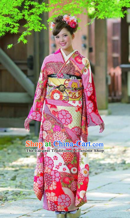 Japanese Traditional Printing Rosy Furisode Kimono Asian Japan Costume Geisha Yukata Dress for Women