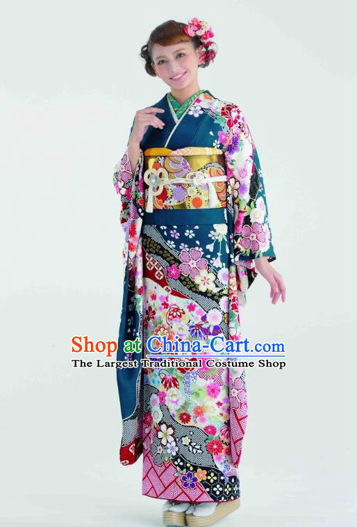 Japanese Traditional Printing Peacock Blue Furisode Kimono Asian Japan Costume Geisha Yukata Dress for Women