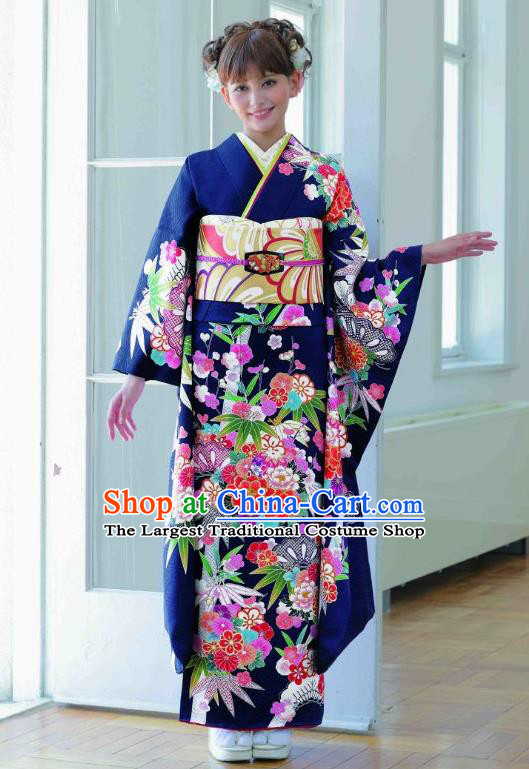 Japanese Traditional Printing Peony Bamboo Navy Furisode Kimono Asian Japan Costume Geisha Yukata Dress for Women