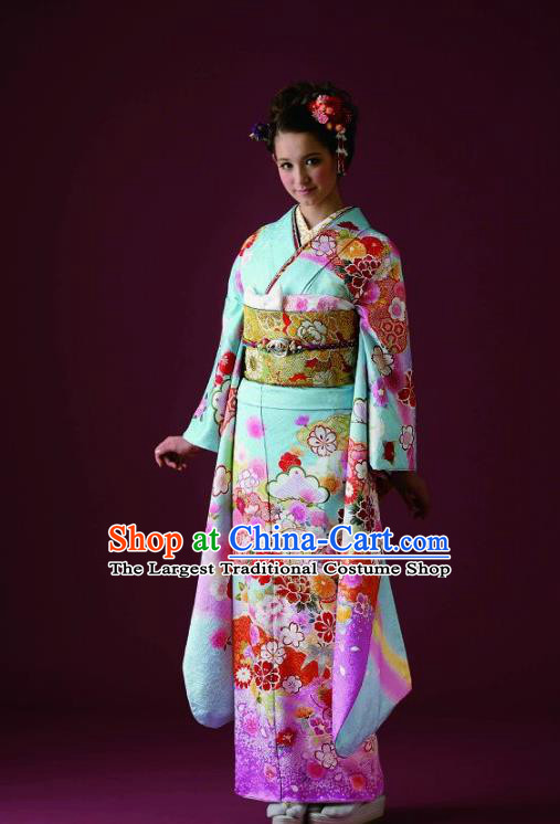 Japanese Traditional Printing Sakura Green Furisode Kimono Asian Japan Costume Geisha Yukata Dress for Women