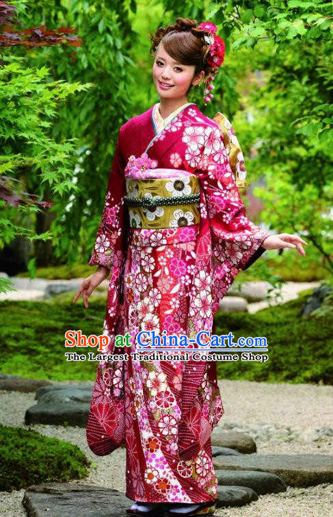 Japanese Traditional Printing Sakura Wine Red Furisode Kimono Asian Japan Costume Geisha Yukata Dress for Women