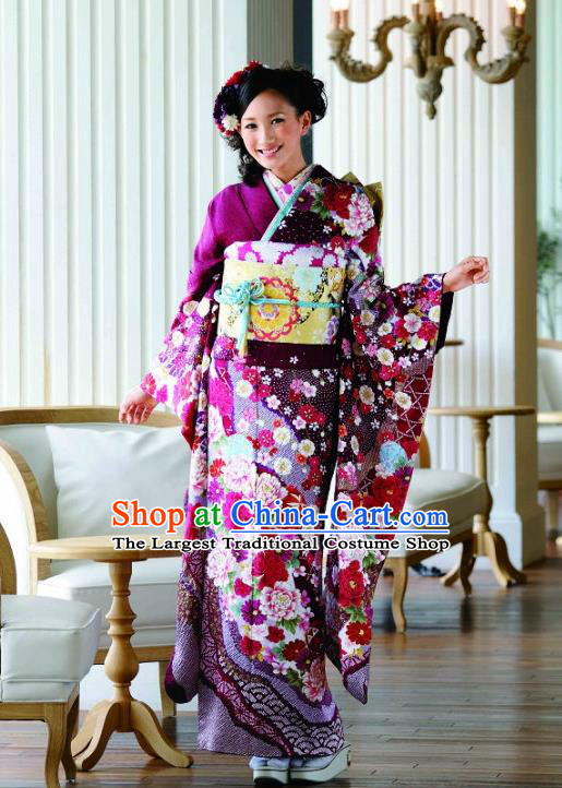 Japanese Traditional Printing Sakura Purple Furisode Kimono Asian Japan Costume Geisha Yukata Dress for Women