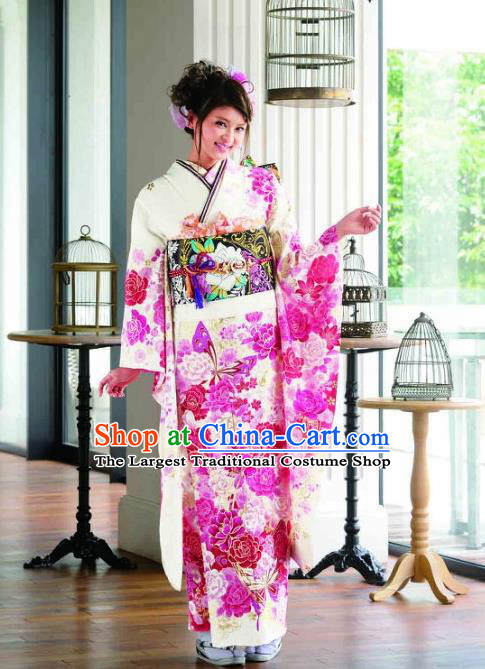 Japanese Traditional Printing Peony Flowers White Furisode Kimono Asian Japan Costume Geisha Yukata Dress for Women