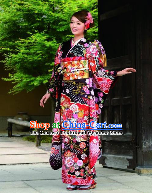 Japanese Traditional Printing Peony Iromuji Black Furisode Kimono Asian Japan Costume Geisha Yukata Dress for Women
