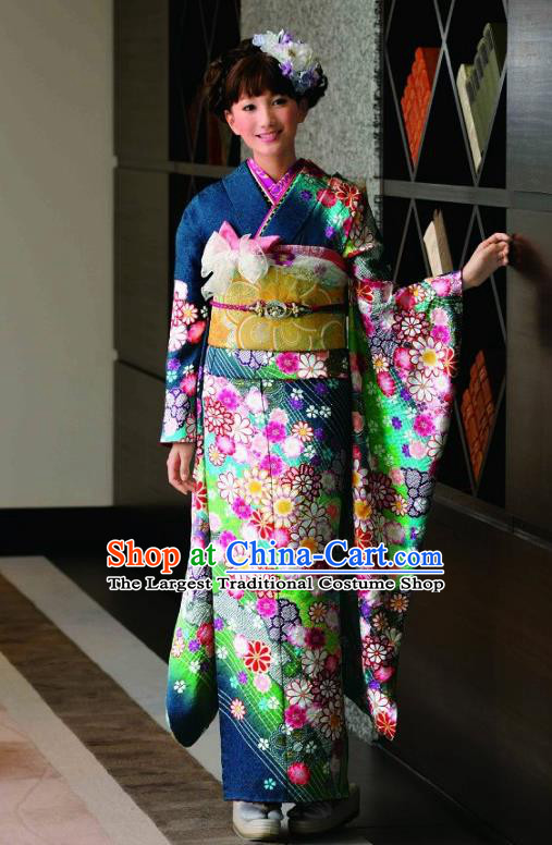 Japanese Traditional Printing Iromuji Peacock Blue Furisode Kimono Asian Japan Costume Geisha Yukata Dress for Women