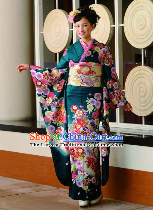 Japanese Traditional Printing Peony Iromuji Deep Green Furisode Kimono Asian Japan Costume Geisha Yukata Dress for Women