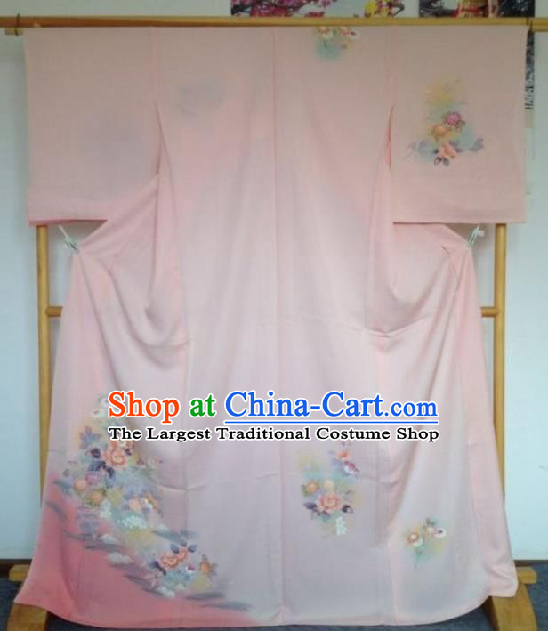 Japanese Traditional Printing Flowers Pink Furisode Kimono Asian Japan Costume Geisha Yukata Dress for Women