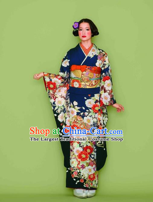 Japanese Traditional Printing Iromuji Navy Furisode Kimono Asian Japan Costume Geisha Yukata Dress for Women