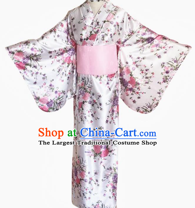 Japanese Traditional Courtesan Printing Flowers White Furisode Kimono Asian Japan Costume Geisha Yukata Dress for Women