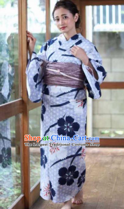 Japanese Traditional Printing Flowers Kimono Asian Japan Costume Geisha Yukata Dress for Women