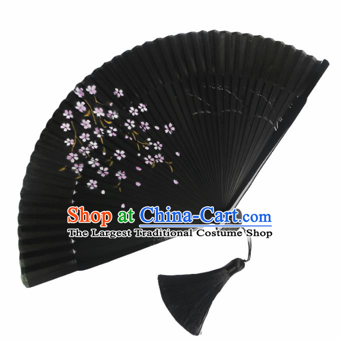 Japanese Traditional Printing Sakura Black Accordion Folding Fans Asian Japan Handmade Geisha Kimono Fan for Women