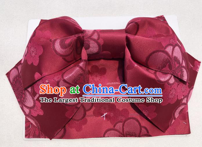 Japanese Traditional Wine Red Bowknot Yukata Waistband Asian Japan Handmade Kimono Belts for Women