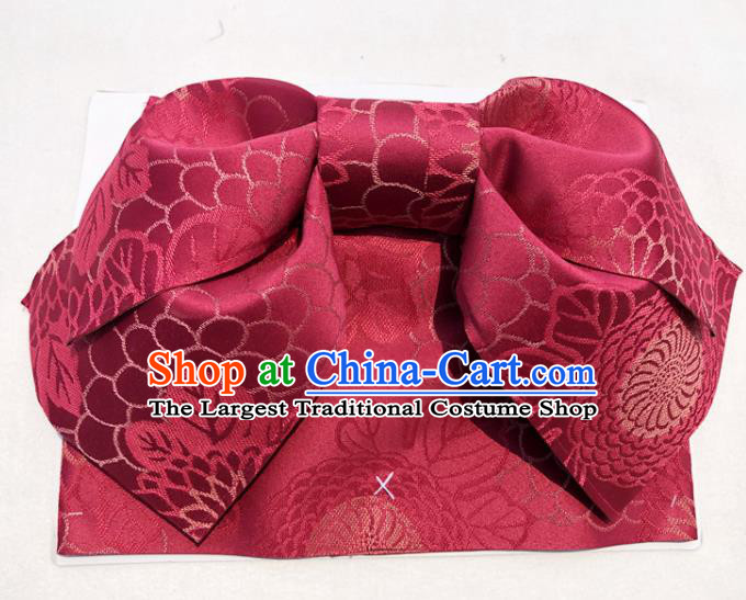 Japanese Traditional Red Bowknot Yukata Waistband Asian Japan Handmade Kimono Belts for Women