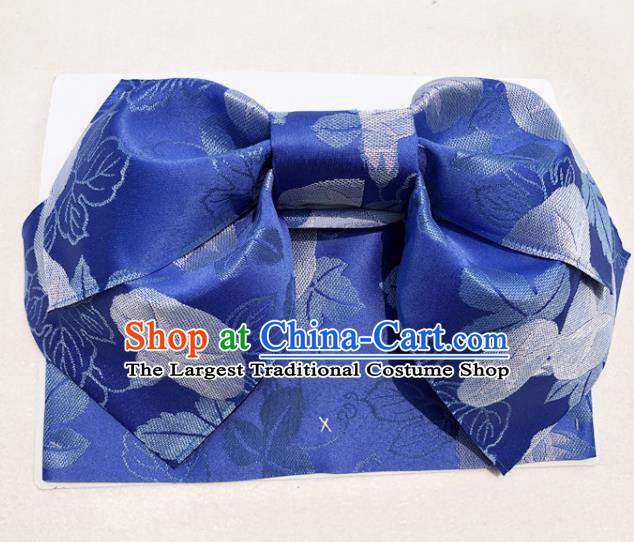 Japanese Traditional Royalblue Bowknot Yukata Waistband Asian Japan Handmade Kimono Belts for Women