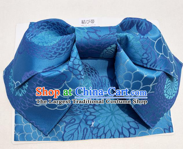 Japanese Traditional Blue Bowknot Yukata Waistband Asian Japan Handmade Kimono Belts for Women