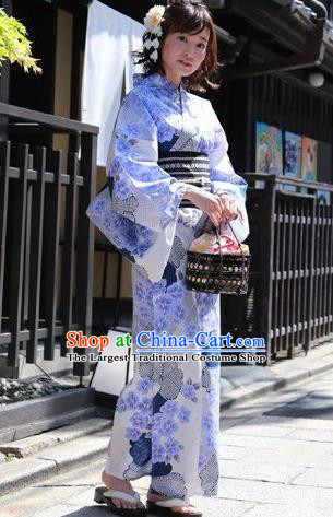 Traditional Japanese Classical Printing Hydrangea Kimono Asian Japan Costume Geisha Yukata Dress for Women