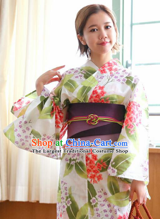 Traditional Japanese Classical Printing Green Leaf Kimono Asian Japan Costume Geisha Yukata Dress for Women