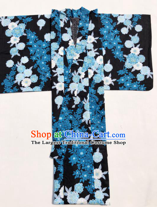 Traditional Japanese Classical Printing Blue Flowers Kimono Asian Japan Costume Geisha Yukata Dress for Women