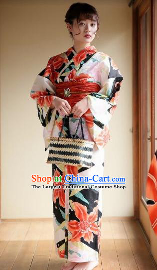Traditional Japanese Classical Printing Lily Flowers Kimono Asian Japan Costume Geisha Yukata Dress for Women