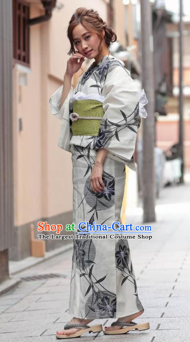 Traditional Japanese Classical Printing Willow Leaf Kimono Asian Japan Costume Geisha Yukata Dress for Women